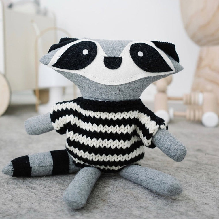 Harry Racoon - handmade felted wool toy