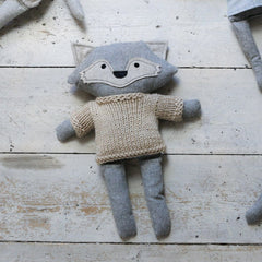 Heiko Fox - handmade felted wool toy Toys and the little dog laughed