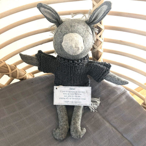 Oscar Donkey- handmade felted wool toy Toys and the little dog laughed