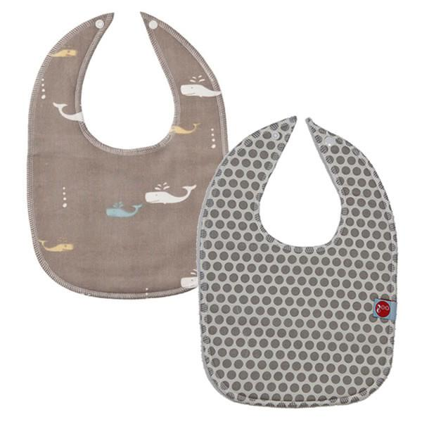Goo Organic Cotton Baby Bib 2 Pack - Whale Watching Grey & Honeycomb Grey - Ecosprout - New Zealand