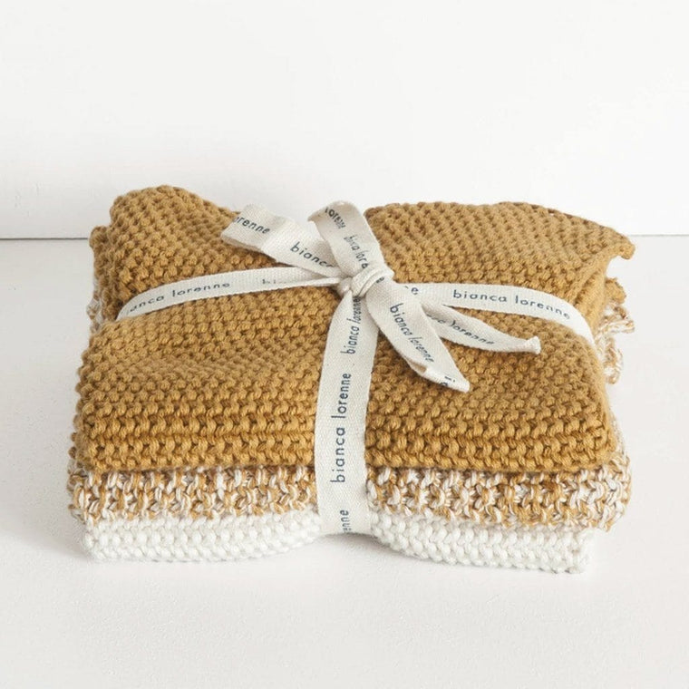 Lavette Washcloths (Set of 3): Ochre