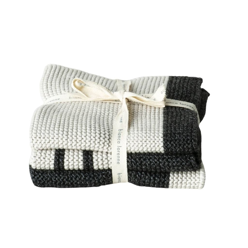 Pannello Washcloths (Set of 3): Charcoal Stripe Baby Care Bianca Lorenne