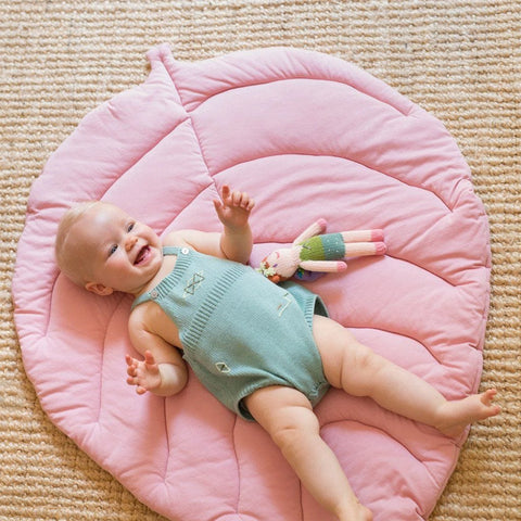 Jersey Cotton Leaf Playmat : Rose Blabla