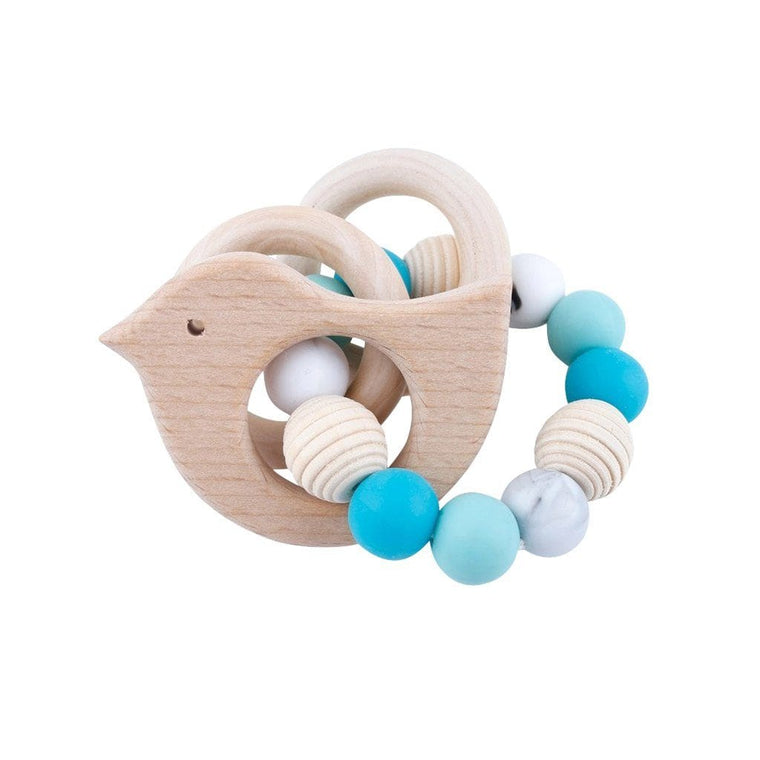 Wooden Silicone Teether Ring : Bird and 2 Wooden Rings with Blue Beads