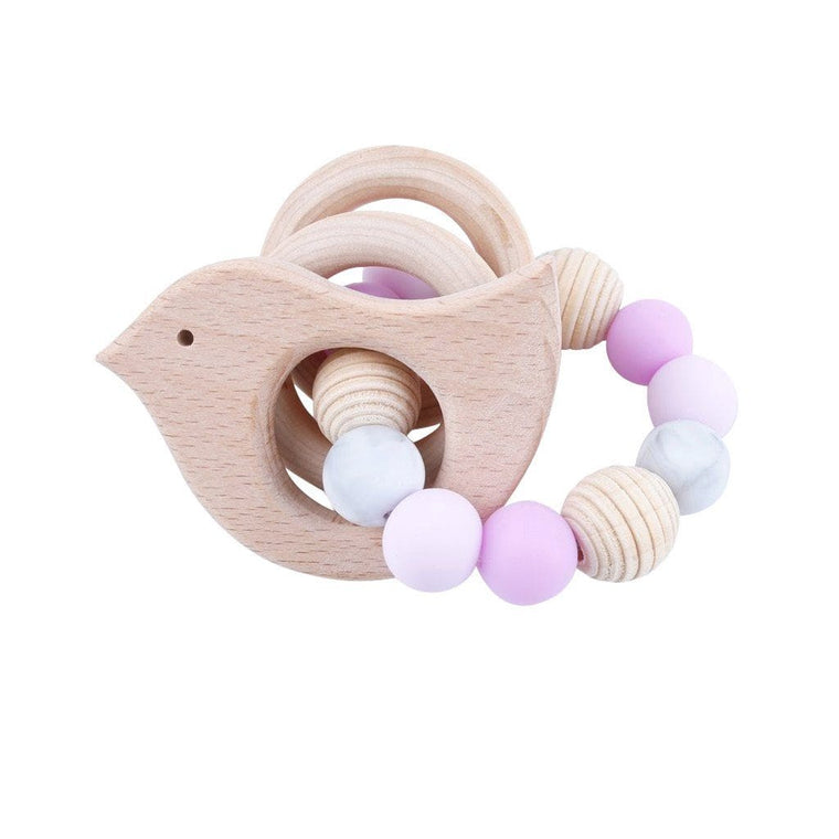 Wooden Silicone Teether Ring : Bird and 2 Wooden Rings with Pink Beads