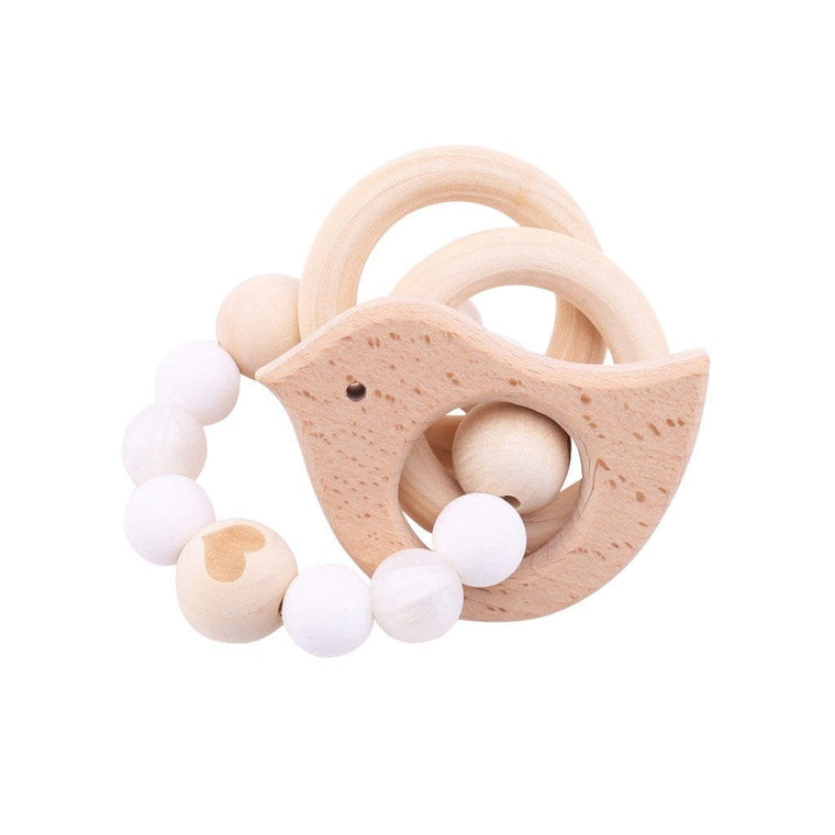 Wooden Silicone Teether Ring : Bird and 2 Wooden Rings with White Beads