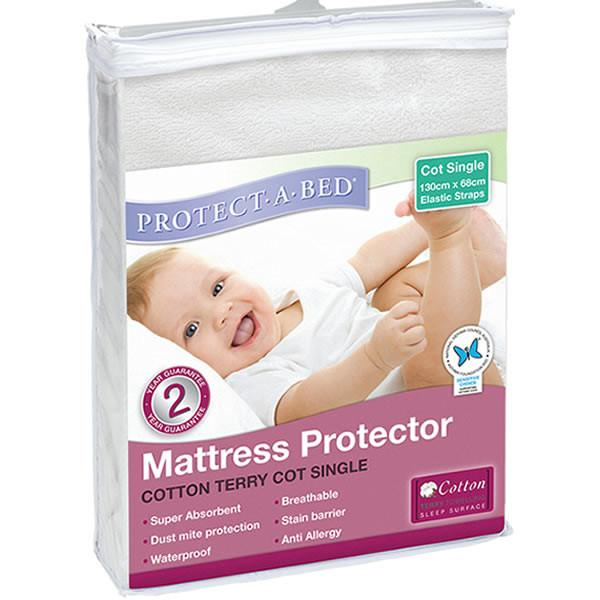 Protect A Bed Cot USA Std Cotton Terry Elastic Strap