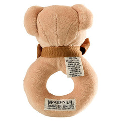 MaudnLil Organic Cotton Baby Donut Rattle - Cubby the Teddy Bear, back view