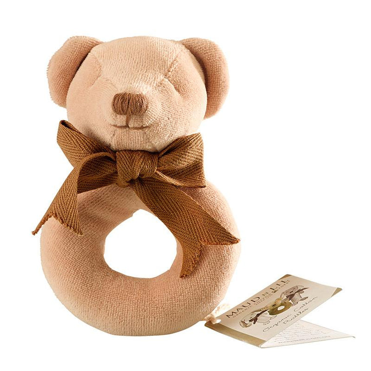 Maud n Lil Organic Cotton Donut Rattle - Cubby the Bear