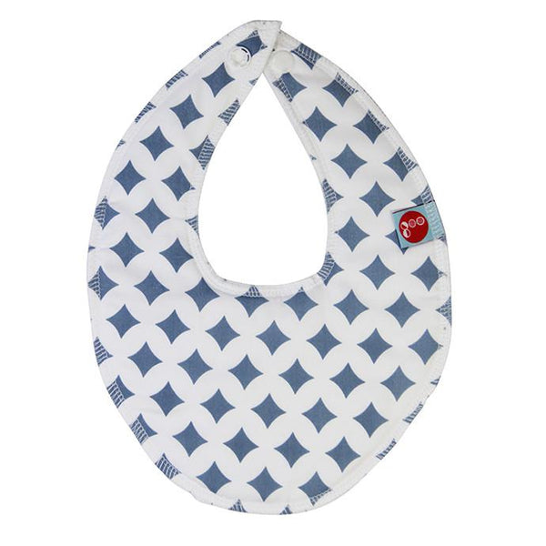 Goo Organic Cotton Dribble Bib - Blue Lattice - Ecosprout - New Zealand