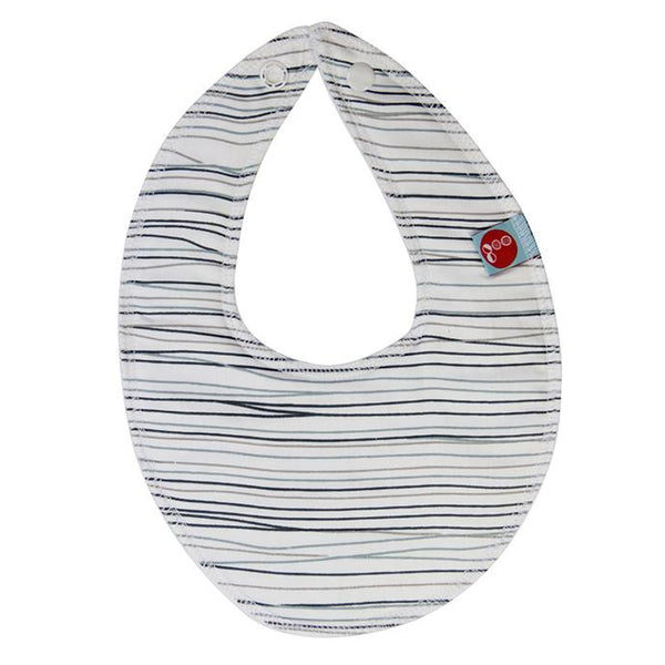 Goo Organic Cotton Dribble Bib - Pencil Lines Blue - Ecosprout - New Zealand