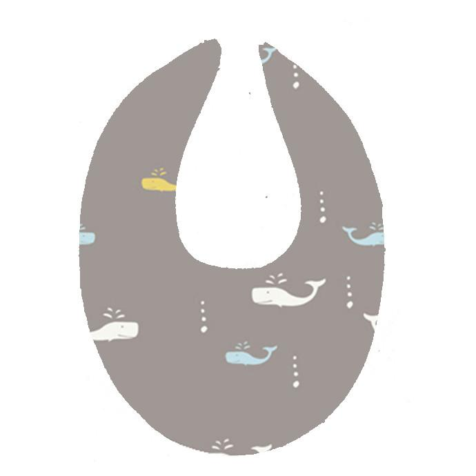 Goo Organic Cotton Dribble Bib - Whale Watching Grey