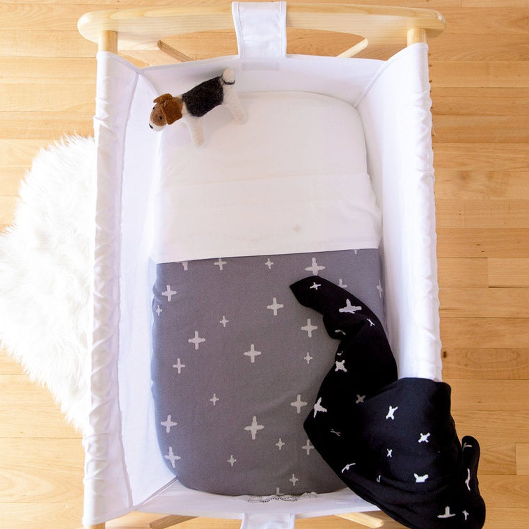 Reversible Cotton Baby Blanket - STAR Galaxy Grey