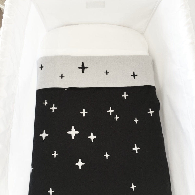 Reversible Cotton Baby Blanket - CROSS Night Sky
