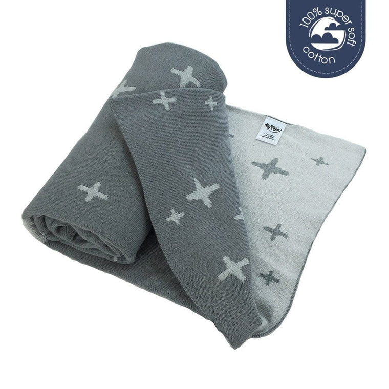 Ecosprout Reversible Cotton Cot Blanket - CROSS Galaxy Grey