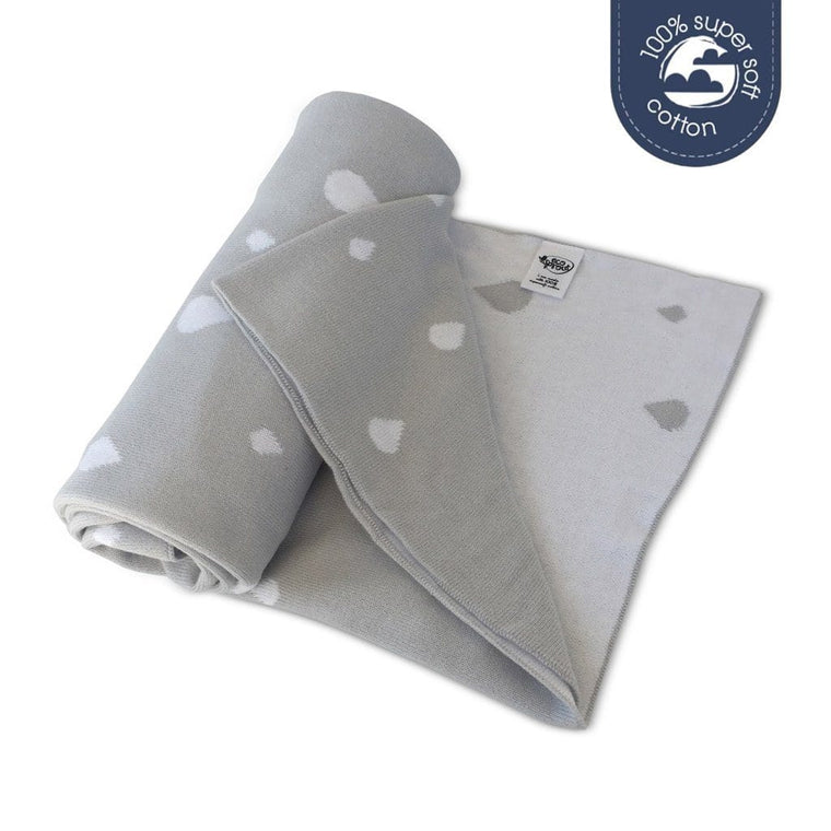 Ecosprout Reversible Cotton Cot Blanket - RAINDROP Dove
