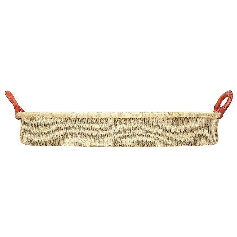 African Changing Basket - Natural with Tan Handles