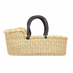Dolls Moses Basket - Natural with Black Handles (Due back early August - Pre-order now!) Nursery Ecosprout Solid Black