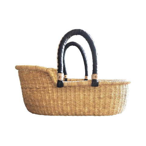 Dolls Moses Basket - Natural with Black Handles