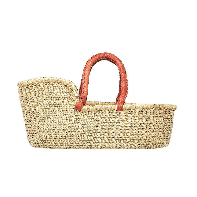 Dolls Moses Basket - Natural with Tan Handles