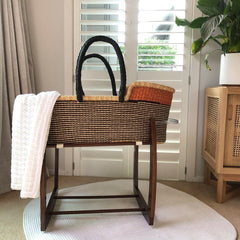 Heirloom African Moses Basket - Deep Navy Stripes with Nutmeg Nursery Ecosprout