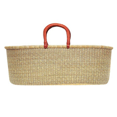 Traditional African Moses Basket - Natural with Tan Handles Nursery Ecosprout
