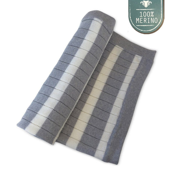 Ecosprout Merino Baby Blanket - Stripe - Ecosprout - New Zealand