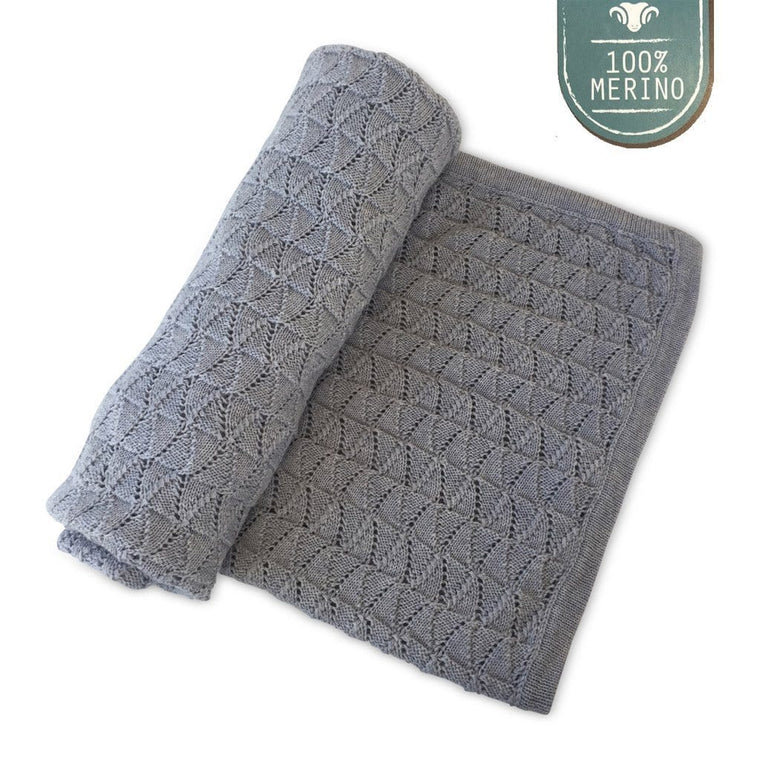 Ecosprout Merino Vintage Baby Blanket - Marl Grey