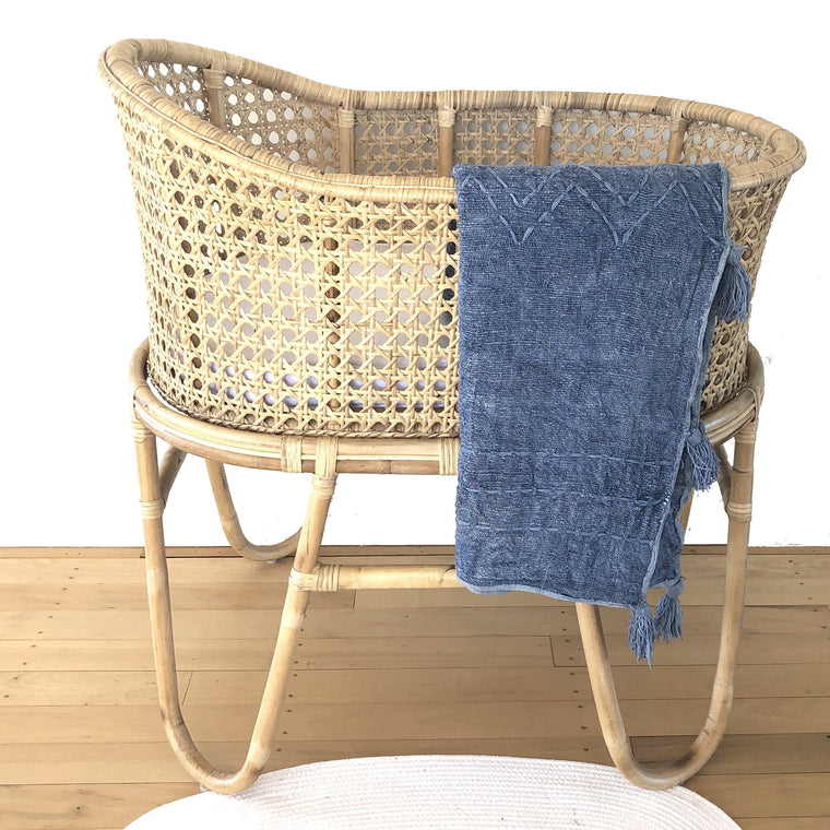 Handwoven Cotton Baby Blanket : Denim