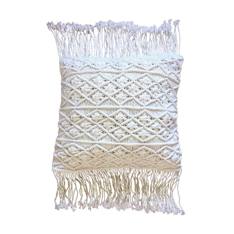 Tassel Macrame Cushion – Off White 50cms