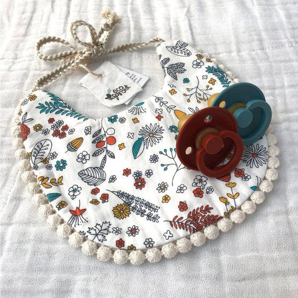 Boho Reversible Dribble Bib : Acorn Garden / Oatmeal Baby Accessory Ecosprout