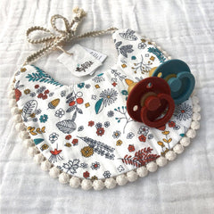 Boho Reversible Dribble Bib : Acorn Garden / Nutmeg Baby Accessory Ecosprout