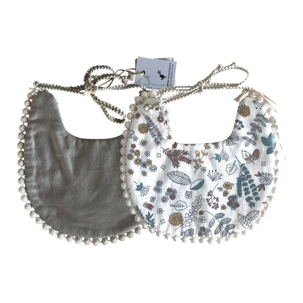 Boho Reversible Baby Bib : Acorn Garden / Oatmeal Baby Accessory Ecosprout