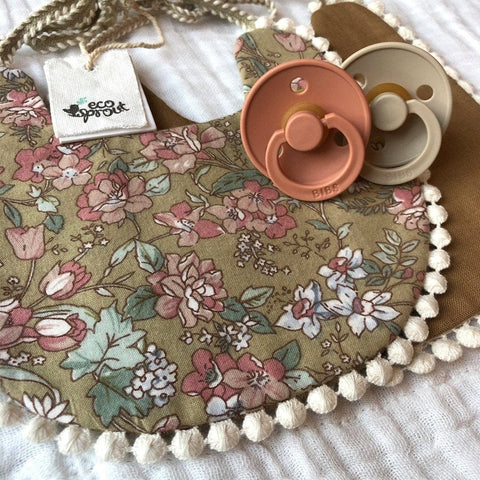 Boho Reversible Dribble Bib : Garden Floral / Bronze Baby Accessory Ecosprout