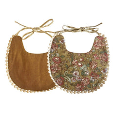 Boho Reversible Baby Bib : Garden Floral / Bronze Baby Accessory Ecosprout