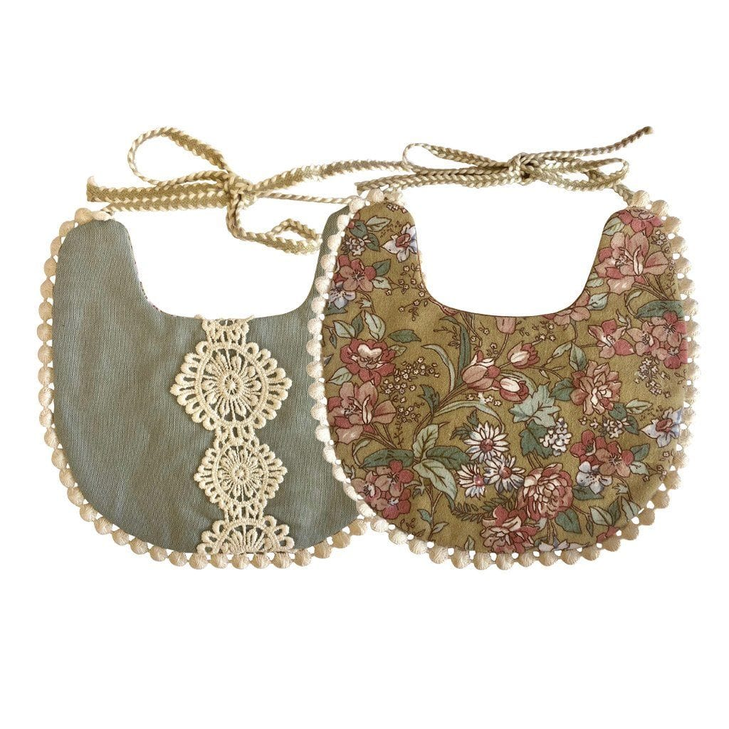 Boho Reversible Baby Bib : Garden Floral / Sage Baby Accessory Ecosprout