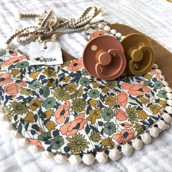 Boho Reversible Dribble Bib : Retro Floral / Bronze Baby Accessory Ecosprout