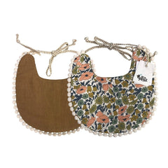 Boho Reversible Baby Bib : Retro Floral / Bronze Baby Accessory Ecosprout