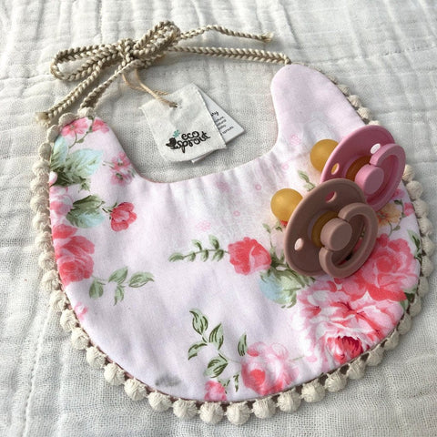 Boho Reversible Dribble Bib : Vintage Rose / Pink Baby Accessory Ecosprout