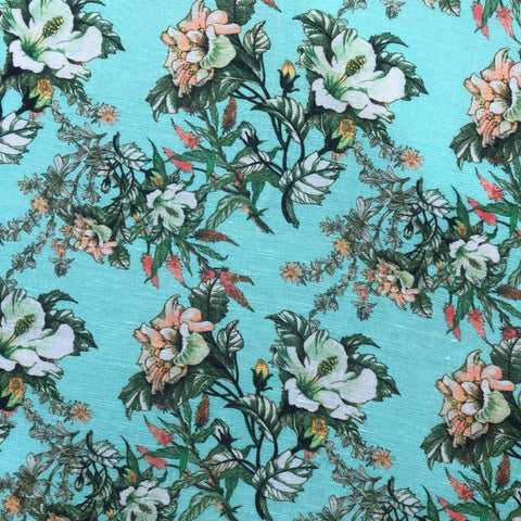 Change Pad Sheet : Torquoise Floral Sheet Ecosprout