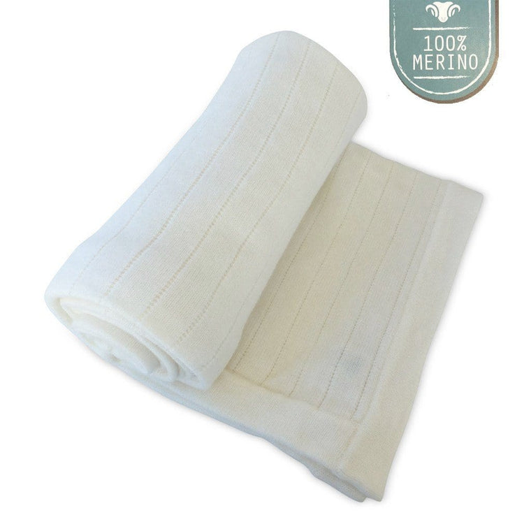Merino Cot Blanket - Natural