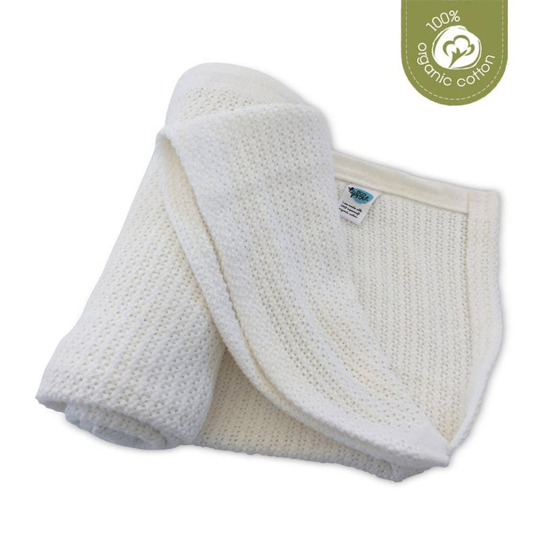 Organic Cotton Cellular Cot Blanket - Natural