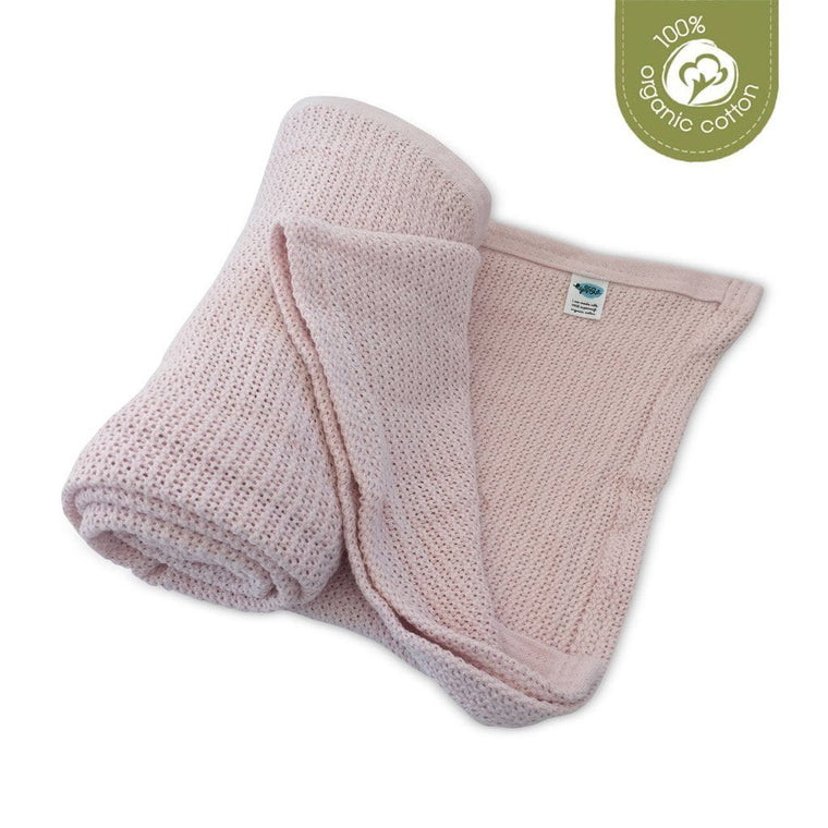 Organic Cotton Cellular Cot Blanket - Powder Pink