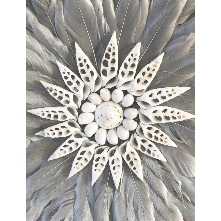 Feather Wall Art 35cm : Dove Grey