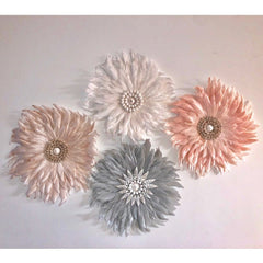 Feather Wall Art 35cm : Antique Rose