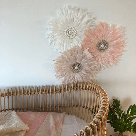 Feather Wall Art 35cm : Powder Pink