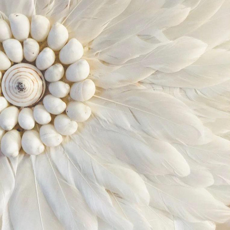 Feather Wall Art 35cm : White