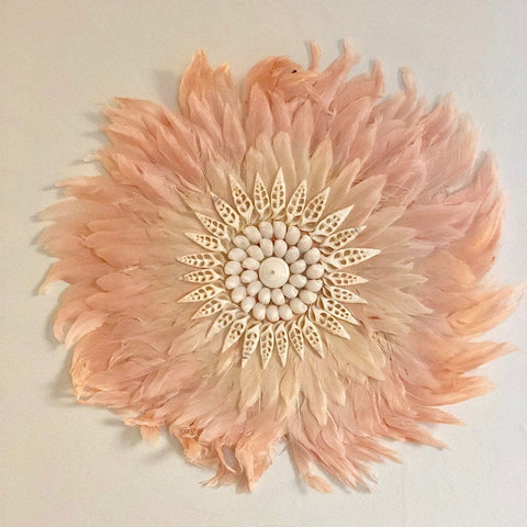 Feather Wall Art 45cm : Powder Pink Wallhangings Ecosprout