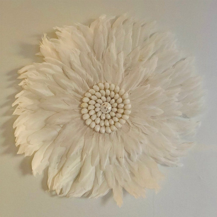 Feather Wall Art 55cm : White