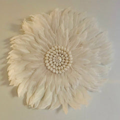 Feather Wall Art 45cm : White Wallhangings Ecosprout